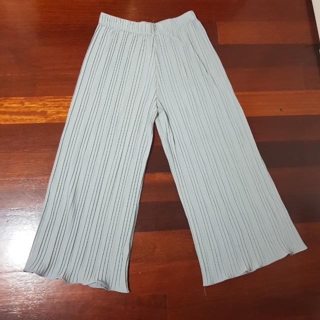 Grey shirred wide leg pants