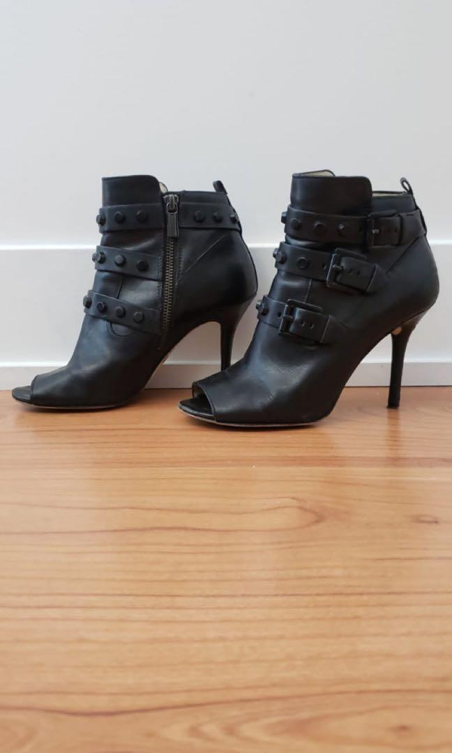 Michael Kors Black Leather Booties, Size 7
