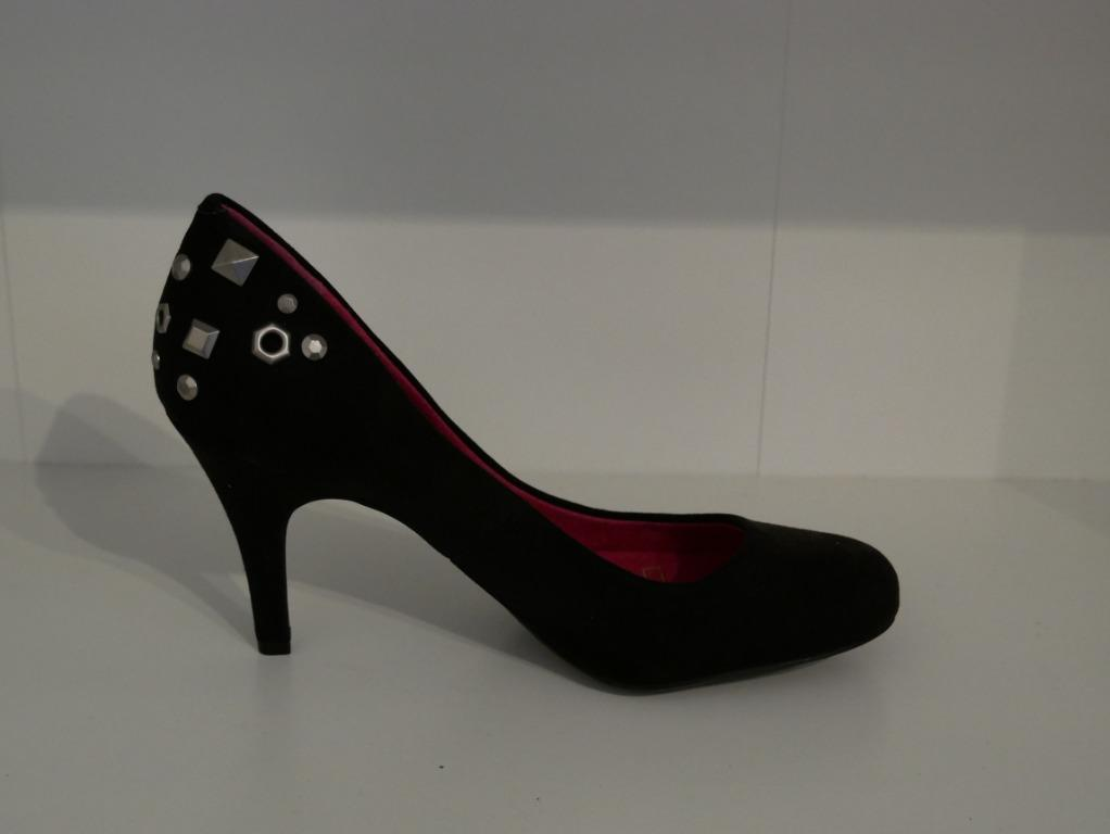 New Black Suede Pump with Steel Decorations Size 36