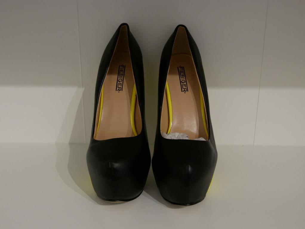 New Fiebiger Black and Neon Yellow Wedge Pumps Size 38