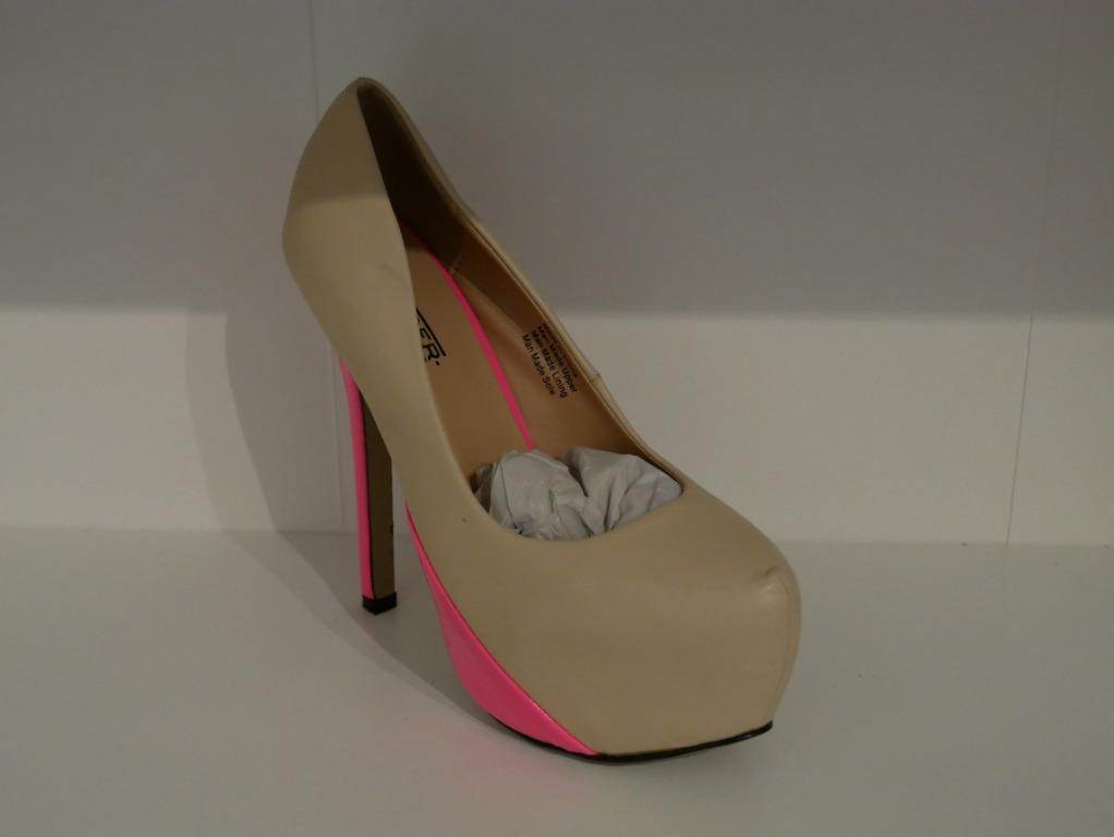 New Fiebiger Wedge Pumps Nude with Neon Pink heels Size 38
