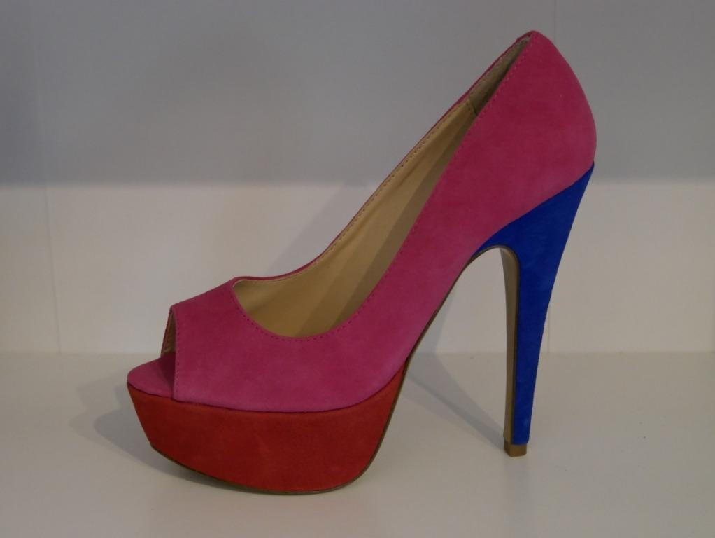 New Tony Bianco Pink/Red/Cobalt Open Toed Wedge Heel Size 7.5