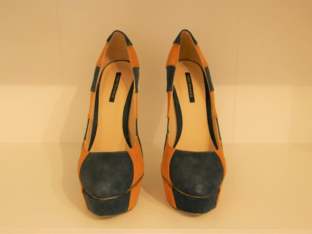 New Tony Bianco Striped Mustard/Teal Wedge Pumps Size 7