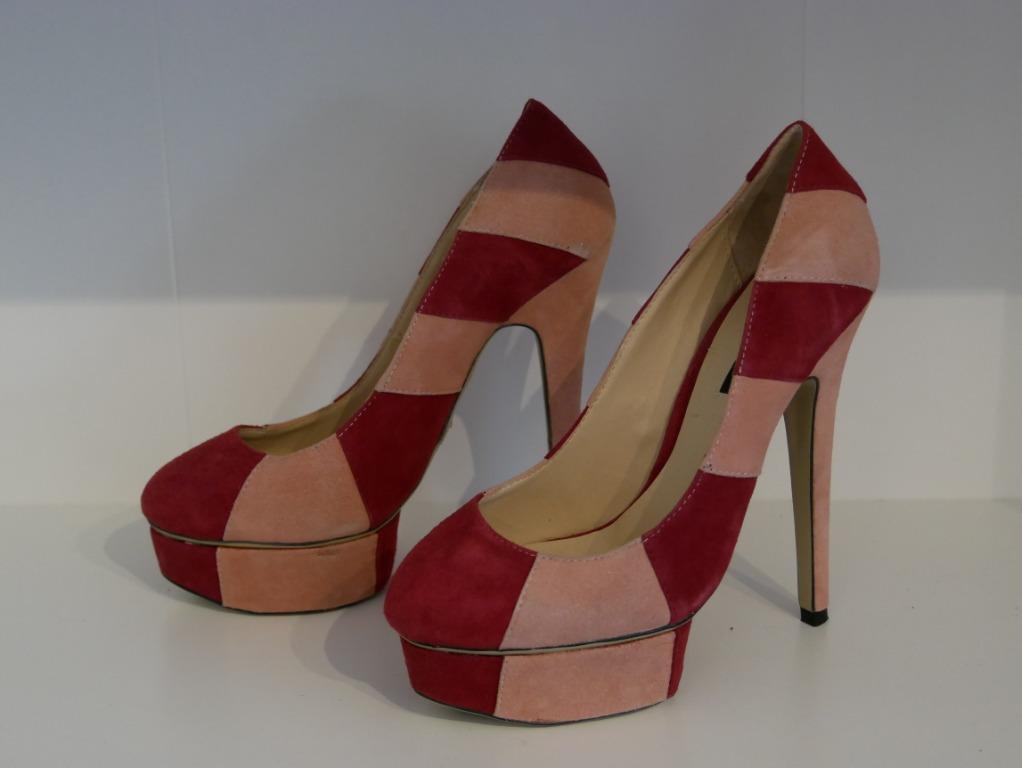 New Tony Bianco Suede Wedge Pump Crimson/Pink Size 7