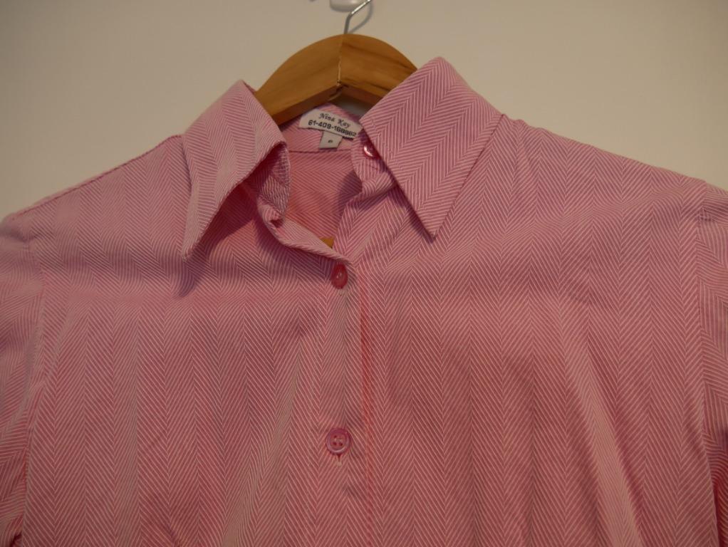Nina Kay Pink Patterned Tailored Cuffed Shirt Size 6