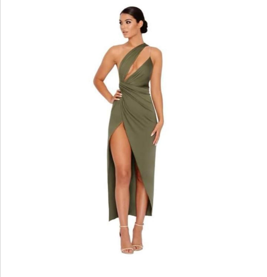 Oh Polly Beat The Ruch Thigh Split Maxi Dress In Khaki