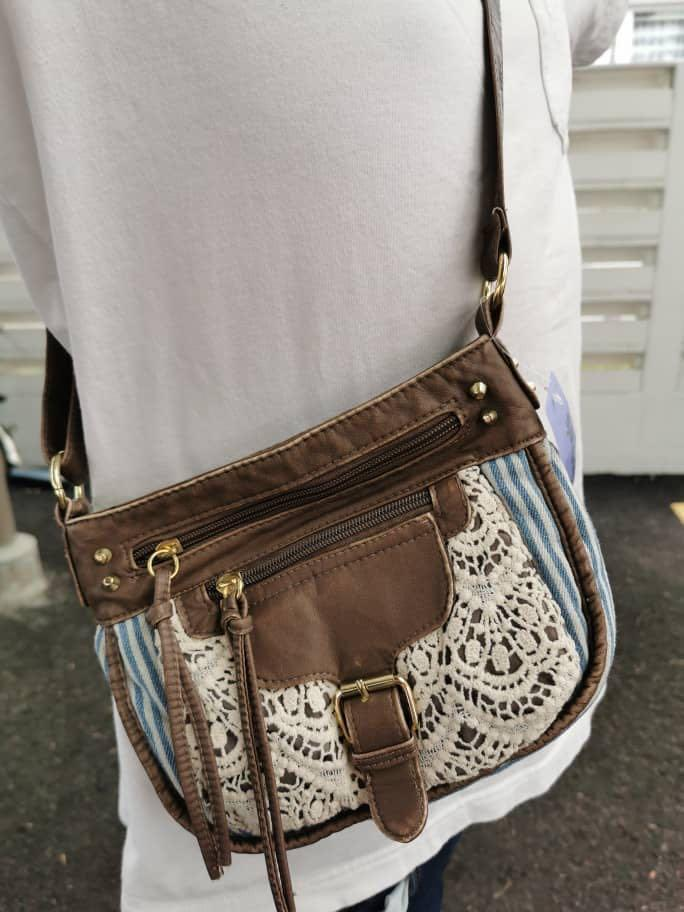 Claire's Women Bohemian Style Casual Blue and White Stripe With Elegant Lace Leather Sling Bag Zipper
