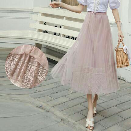 readystock Ruffle Skirt mididress gaun rokmidi skirt tutuskirt hijab bajugamis
