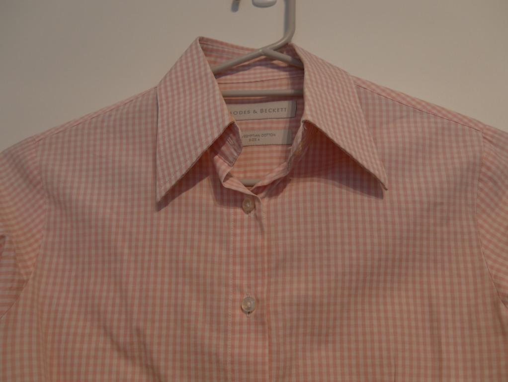 Rhodes & Beckett Checked Light Pink & White Cuffed Shirt Size 4