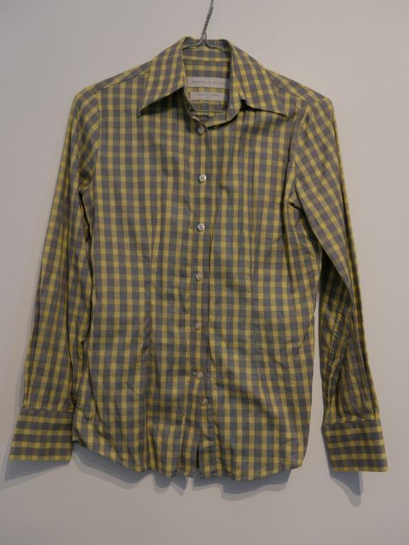 Rhodes & Beckett Fitted Mustard & Grey Checkered Shirt Size 4