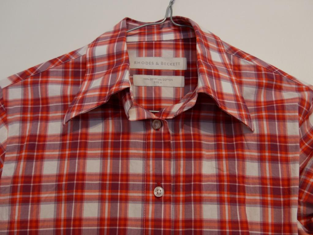 Rhodes & Beckett Fitted Red/White/Purple Checked Cuffed Shirt Size 4