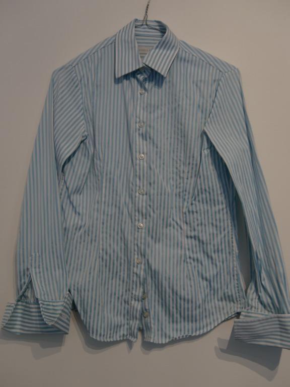 Rhodes & Beckett Fitted Striped Light Blue & White Cuffed Shirt Size 6