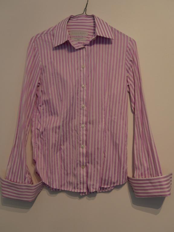 Rhodes & Beckett Striped Lilac/White Cuffed Shirt Size 6