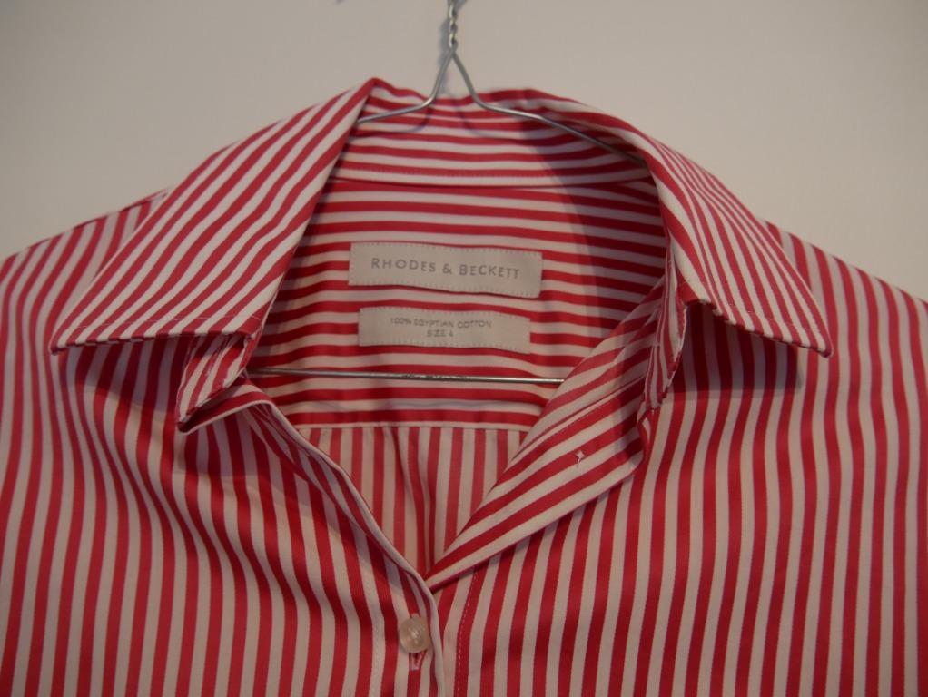 Rhodes & Beckett Striped Rose Pink/White Cuffed Shirt Size 4