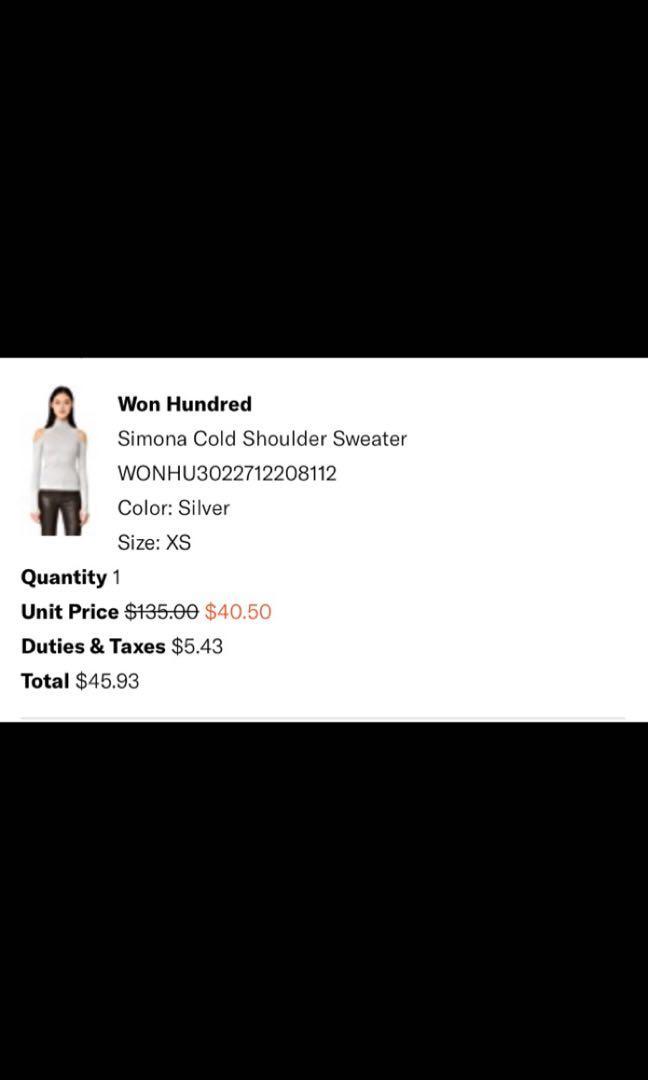 "Shopbop ""Won Hundred"" sparkley cold shoulder women's top size xs"
