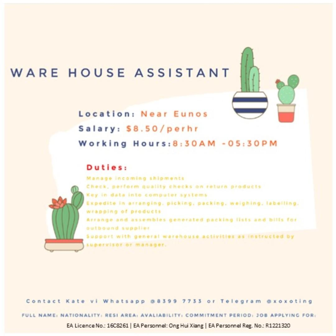 Temp Weekday Warehouse Assistant @EUNOS