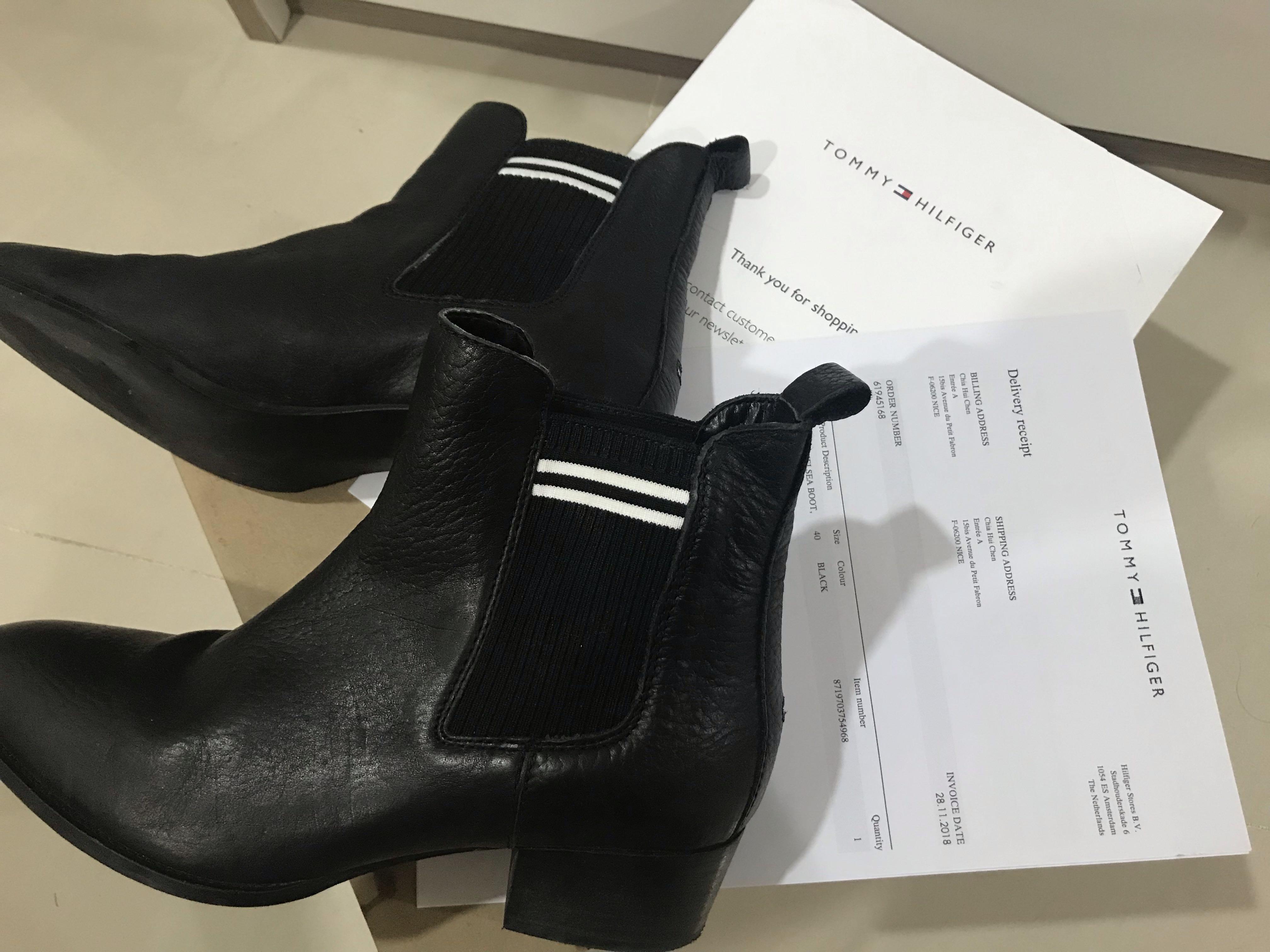 Tommy Jeans-Sock Chelsea Boot 皮製中筒靴黑