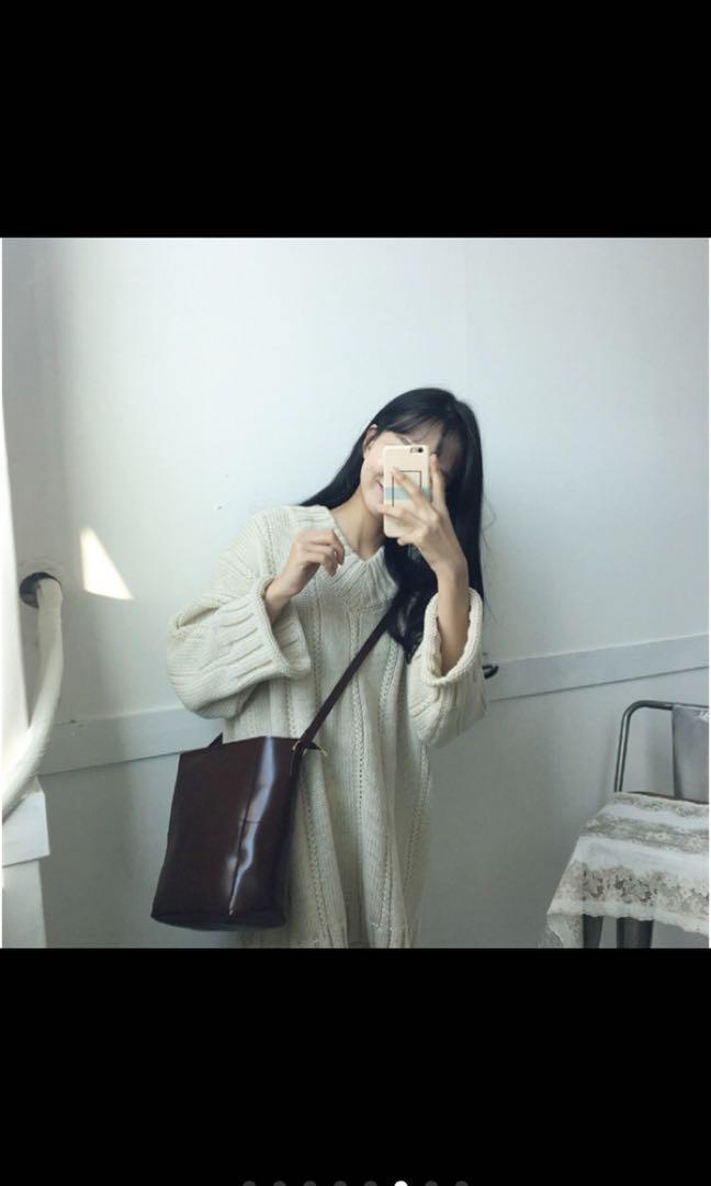 甜美V領長袖麻花加厚連衣針織毛衣裙 洋裝