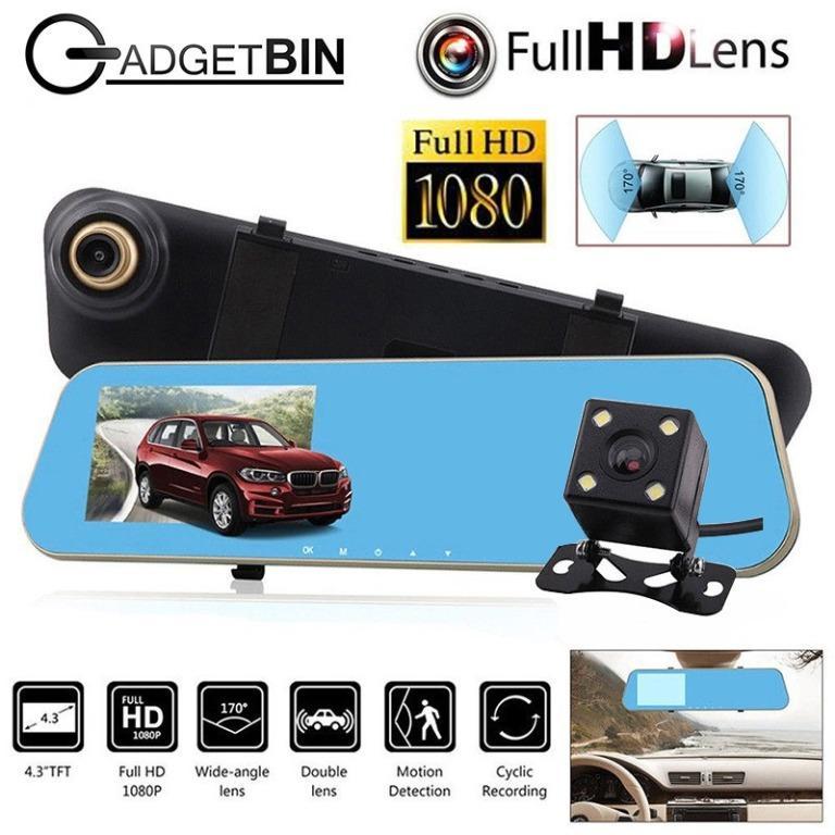 Vehicle Blackbox DVR 4.3 FullHD 1080P LCD Front Back Car Camera