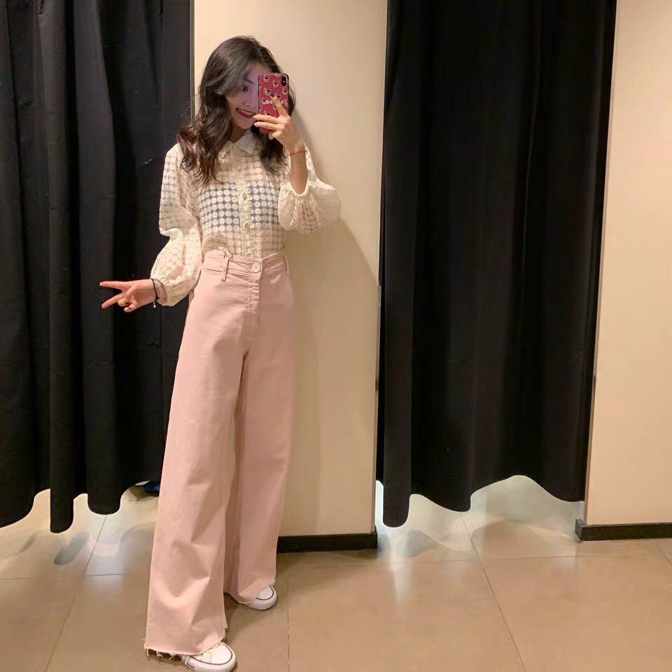 Women's pink high-waisted wool hem wide-leg jeans wide-leg pants