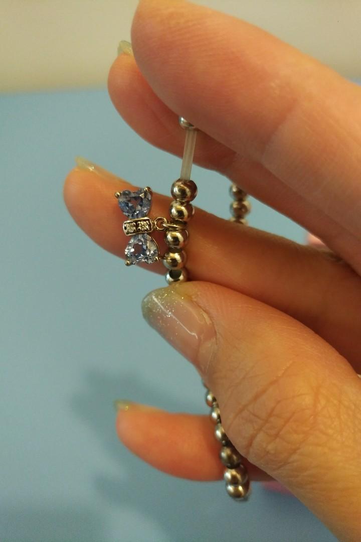 Yume Jewelry Blue crystal bow/ribbon bracelet