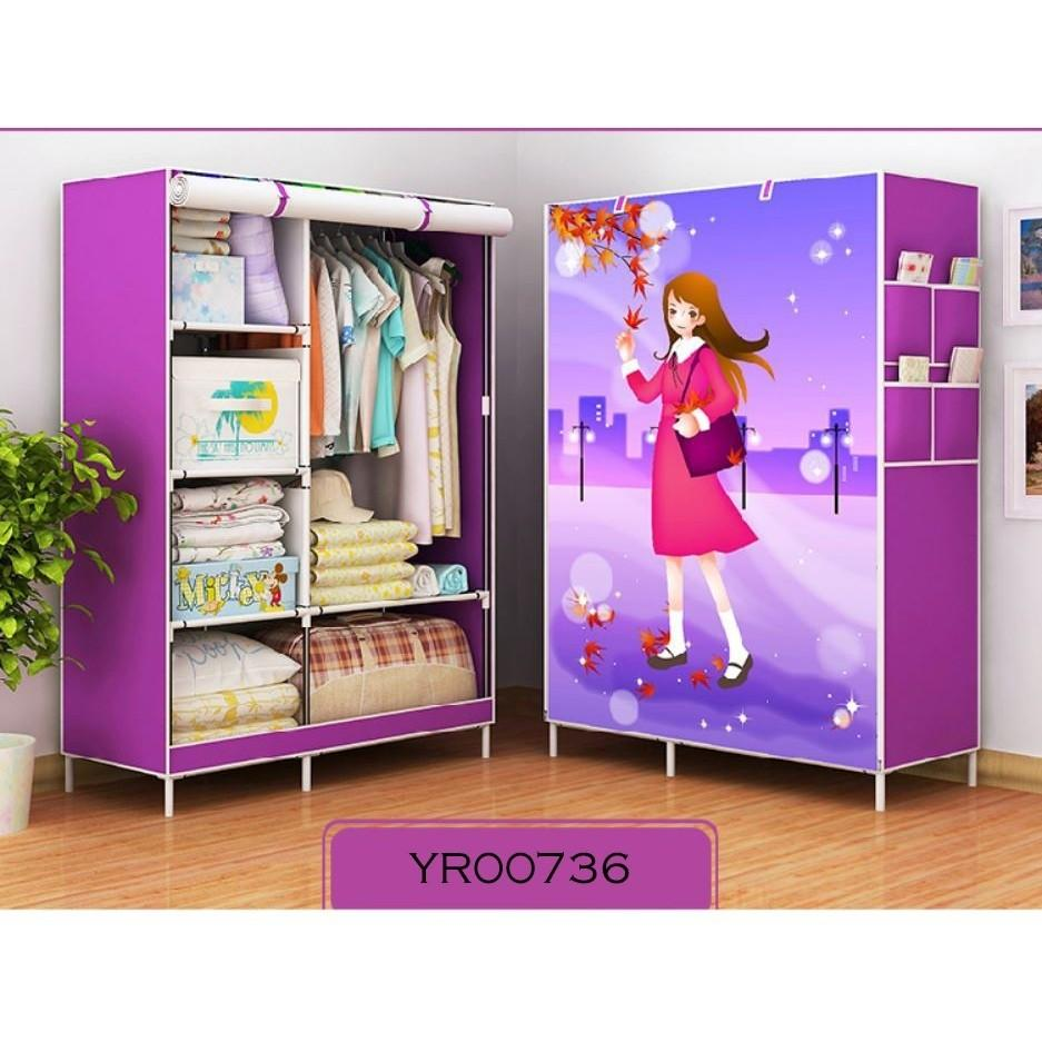 ZE Single Pole Water Proof Roll Up Curtain Clothes Wardrobe