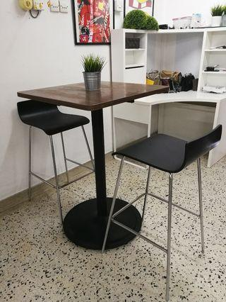 Dining high table with 2 high chair (AVAIL IN 3SET)