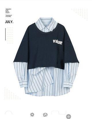 VEGA CHEN休閒套裝女洋氣條紋襯衫字母印花衛衣兩件套2019秋新款