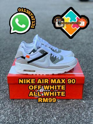 NIKE AIR MAX 90 OFF WHITE ALL WHITE (pm me for more size)