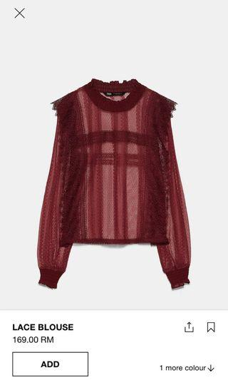 Zara red lace top