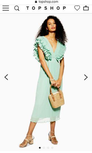 Topshop ruffled pleated midi dress mint