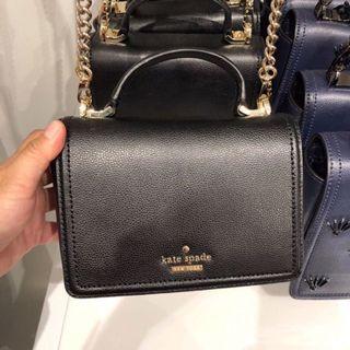 全新瑕疵 黑色 Kate spade 小方包  斜背包 手提包 鏈條包
