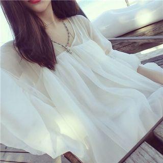 《出清》夏裝V領喇叭袖雪紡衫遮肚子寬鬆防曬衣中長款度假超仙氣質上衣女