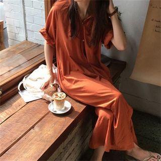 《出清》夏季新款氣質純色連衣裙長款V領五分袖大碼襯衫裙