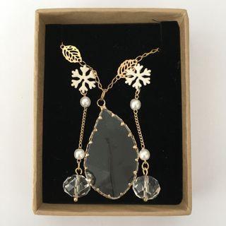透明樹葉項鍊雪花垂墜珍珠耳環