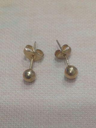 For sale K黃金金球耳環 金珠耳環 光面金球 簡單時尚 pure gold earrings k