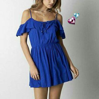 Cold shoulder mini dress import / summer dress bohemian look murah