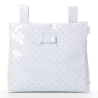 Branded Pasito A Pasito Small Changing Bag White Leather – Embroidered Polka Dot Blue #Letgo50