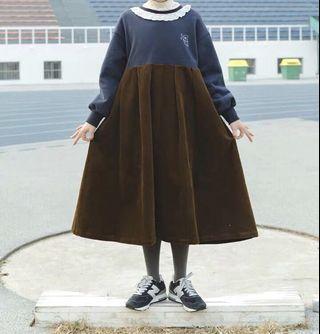 《秋冬 新品》日系拼接假兩件洋裝