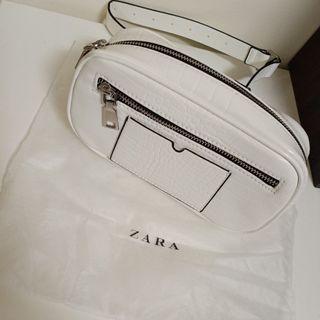 Zara鱷魚皮革腰帶包