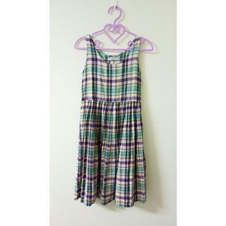 古著紫格紋背心洋裝吊帶裙