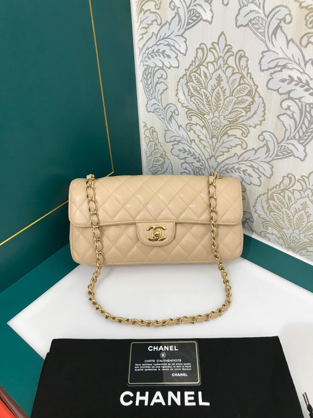 #13 Like New Chanel East West Flap Beige Caviar with GHW