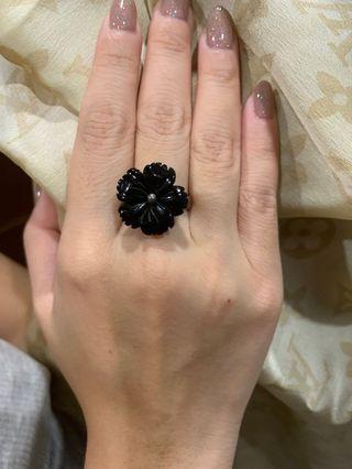 黑曜石銀戒指