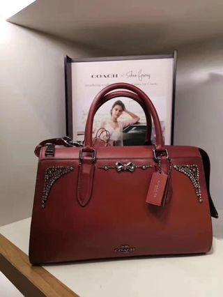 Coach x Selena Crystal Bond Bag in Wine(o)