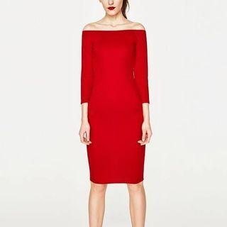 Zara Off shoulder red dress