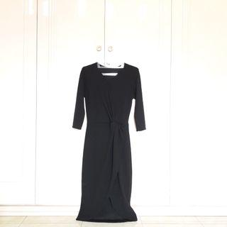 #JoinOktober Black Scuba Drape Dress Long Dress With Slit