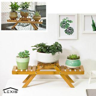 Bamboo Flower Stand Desk Flower Pot Rack 008