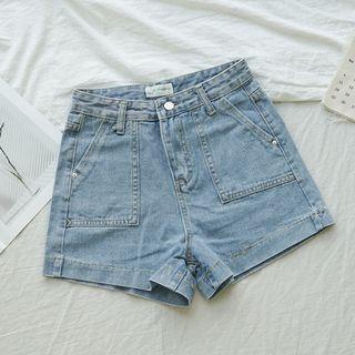 中腰大口袋牛仔短褲