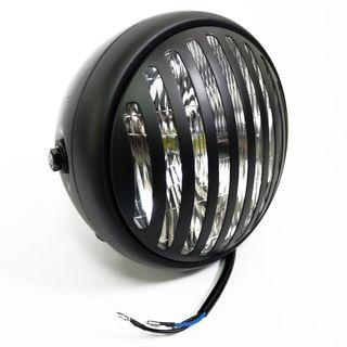 Cafe Racer Motorcycle Headlight Lamp with Grill Cover