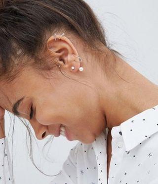 silver pearl through & through earrings